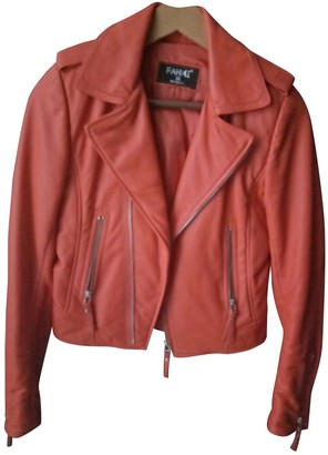 N. Non Signé / Unsigned Non Signe / Unsigned \N Orange Leather Leather jackets