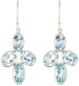 Argentovivo Sterling Silver Blue Topaz Cluster Drop Earrings