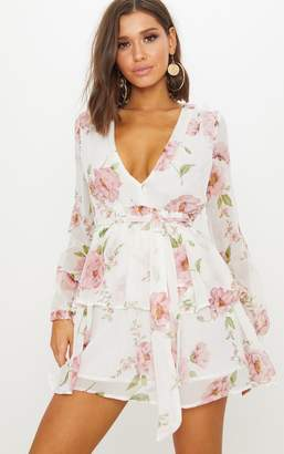 PrettyLittleThing White Floral Chiffon Double Tier Plunge Skater Dress