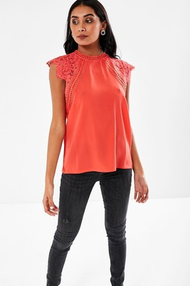 iClothing Nelly Lace Sleeves Blouse in Coral