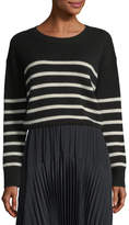 Vince Striped Boxy Crewneck Cashmere Sweater w/ Tie