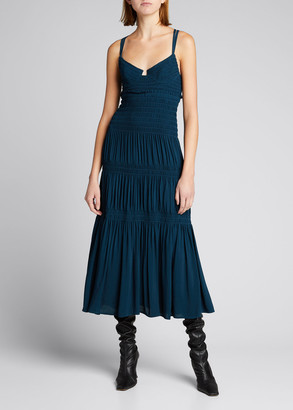 Proenza Schouler Sleeveless Smocked Bustier Midi Dress