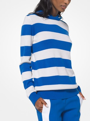 Michael Kors Striped Cashmere and Cotton Hoodie
