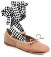 Miu Miu Leather Lace-Up Ballet Flats