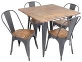 Lumisource 5 Piece Oregon Dining Table Set Metal/Vintage Gray
