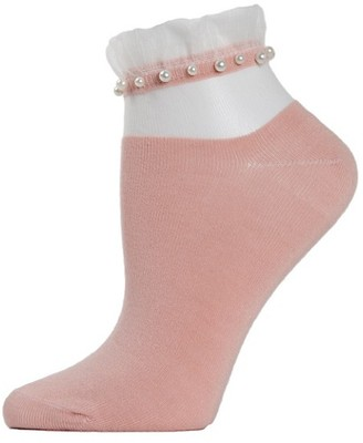 Me Moi Sheer Ruffle-Cuff Faux Pearl Anklet Socks