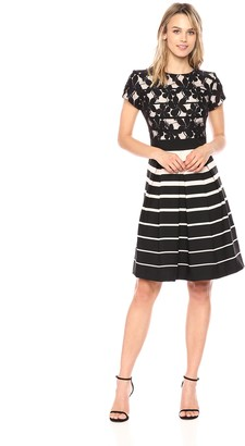 Gabby Skye Women's Stripe Fit and Flare Dress with Lace Bodice