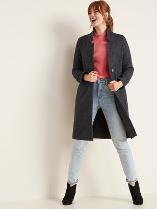 Old Navy Relaxed Soft-Brushed Herringbone Long-Line Coat for Women