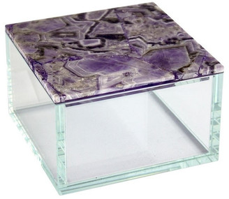 Sagebrook Home Purple Agate Top Glass Box 12082-01