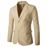 QIYUN.Z Men's Slim Fit Solid Two Button Casual Work Suit Jacket Coat Blazer