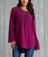 Suzanne Betro Weekend Women's Tunics 111 - Berry Lace-Trim Babydoll Tunic - Women