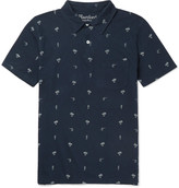 Hartford - Printed Cotton And Linen-blend Jersey Polo Shirt
