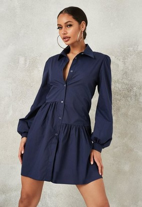 Missguided Petite Navy Asymmetric Tiered Shirt Smock Dress