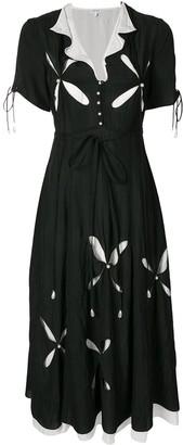 Loewe Pearl-Embellished Cut-Out Dress