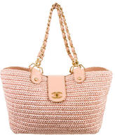 Chanel Straw & Leather Tote