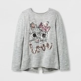 "Miss Chievous Girls' Sequin ""LOVE"" Cat Face Top - Gray"