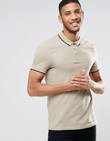 Asos Muscle Pique Polo Shirt With Contrast Collar And Sleeve Tipping In Beige/Black