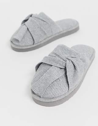 Zuzu Asos Design ASOS DESIGN bow mule slippers in grey