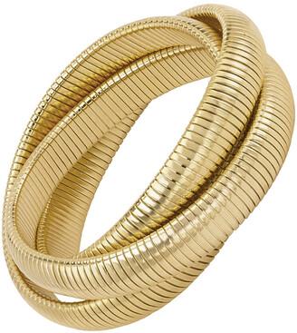 Janis Savitt High Polished Yellow Gold Plated Triple Cobra Bracelet