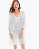 Chico's Embellished Cotton Gauze Swim Cover-up Poncho