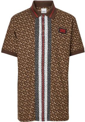 Burberry Monogram Stripe Print Cotton Pique Polo Shirt
