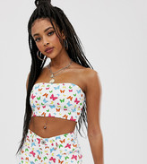 One Above Another bandeau crop top in denim butterflies two-piece