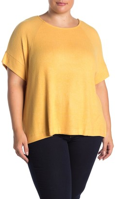 Bobeau Ribbed Detail Short Sleeve Top (Plus Size)