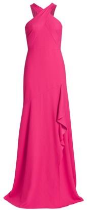 ML Monique Lhuillier Halter Crepe Gown