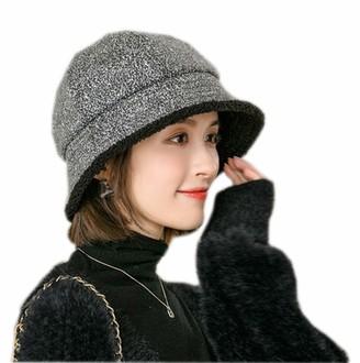 Moonlove British Women Hat Classic Winter Vintage Thick Bucket Hat Elgant Ladies Wide Brim Hat Fisherman Hat Black