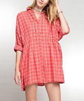 Jane Coral Plaid Shirt Dress