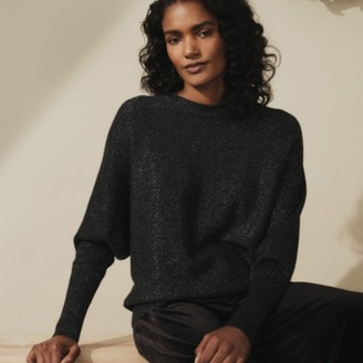 The White Company Cashmere-Rich Sparkle Batwing Jumper , Dark Charcoal Marl, Extra Small