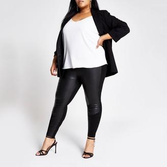 River Island Womens Plus Black faux leather jersey leggings
