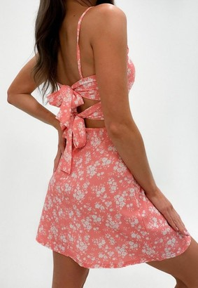 Missguided Blush Ditsy Floral Print Tie Back Cami Dress