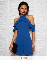 Lipsy Petite Cold Shoulder Ruffle Playsuit