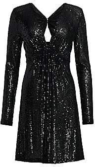 Naeem Khan Women's V-Neck Long-Sleeve Sequin Cocktail Dress
