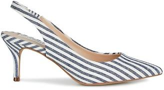 Saks Fifth Avenue Linen Stripe Slingback Pumps