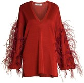 Valentino Ostrich Feather-Sleeve V-Neck Knit Sweater
