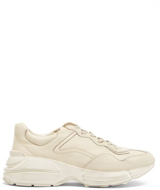 Gucci Rhyton Distressed Leather Trainers - Mens - White