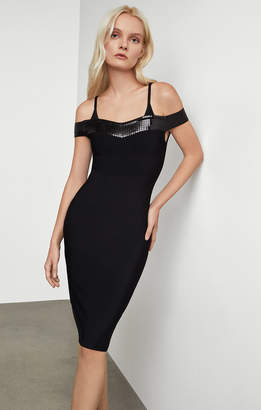 BCBGMAXAZRIA Sequined Off Shoulder Dress