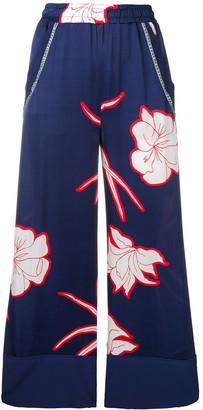 Pinko flower print flare trousers