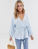 Asos Design DESIGN long sleeve textured wrap top with rope tie in cotton