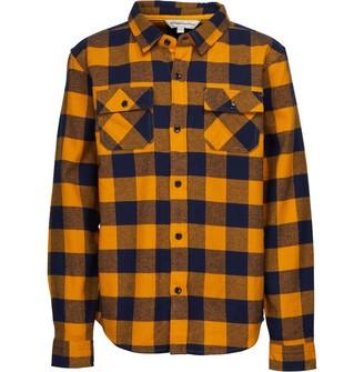 Kangaroo Poo Boys Junior Yam Dyed Checked Long Sleeve Shirt Tan/Navy