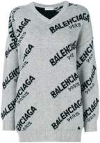 Balenciaga Jacquard Logo V Neck sweater