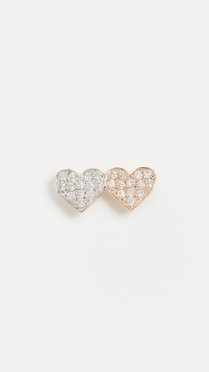 Sydney Evan Single Double Heart Stud
