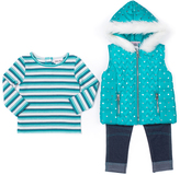 Little Lass Emerald Heart Hooded Puffer Vest Set - Girls