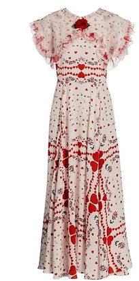 Rodarte Heart Floral Print Ruffle Silk Dress