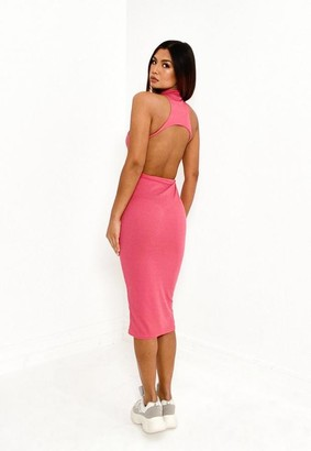 Missguided Rose Rib High Neck Cut Out Back Midi Dress