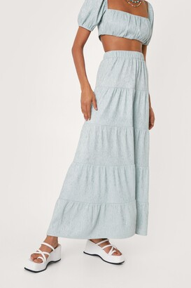 Nasty Gal Womens Plisse Tiered High Waisted Maxi Skirt - Green - 4
