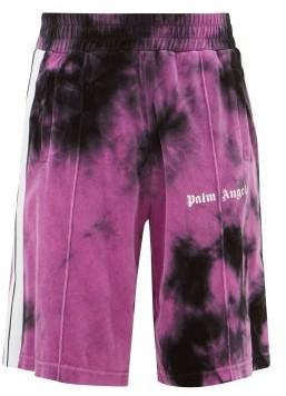 Palm Angels Tie-dye Cotton-blend Track Shorts - Mens - Black