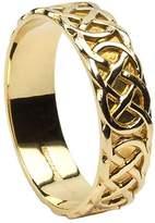 BORU Mens Celtic Knot Wedding Band 14K Yellow Irish Made 10